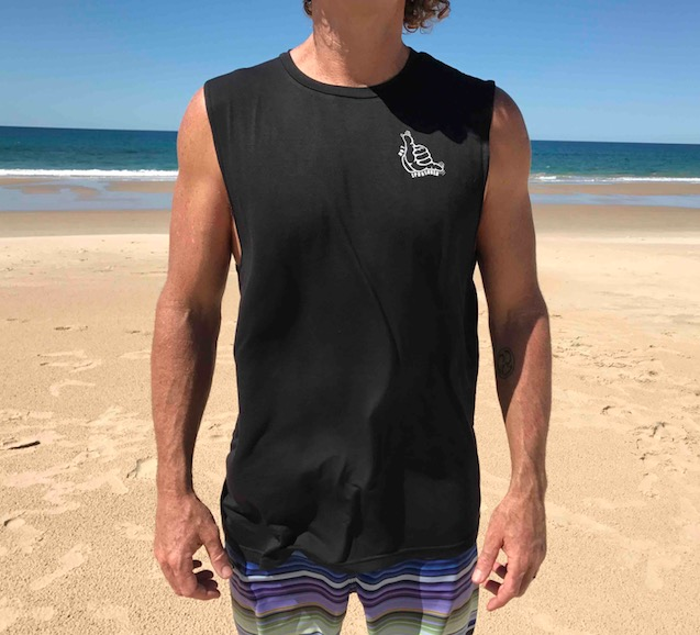 Muscle Tank Hang Loose Black Bamboo Mens/Womens