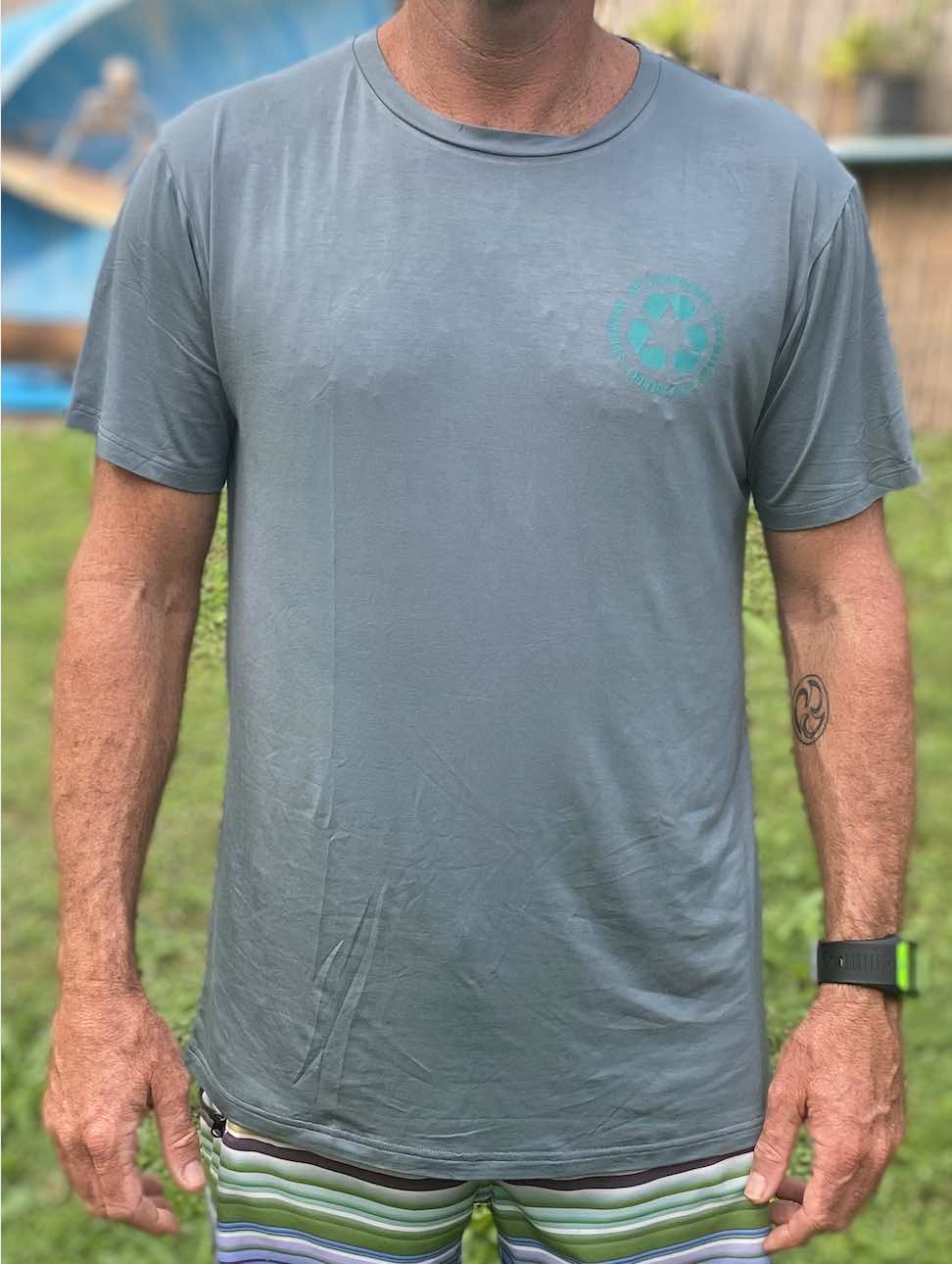 Mens Recycle Me TEAL Bamboo T Shirt