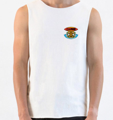 Muscle Tank Tiki White Bamboo Mens/Womens