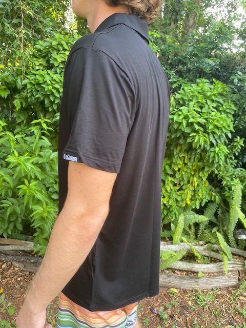 Mens Polo Shirt Black Bamboo