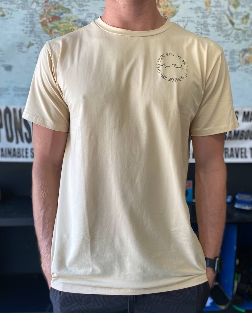 Mens Lifes Short SAND Bamboo Tshirt Surf Shirt Gym Shirt